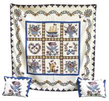 MACHINE-MADE QUILT With patriotic designs on a white ground. Approximately 87