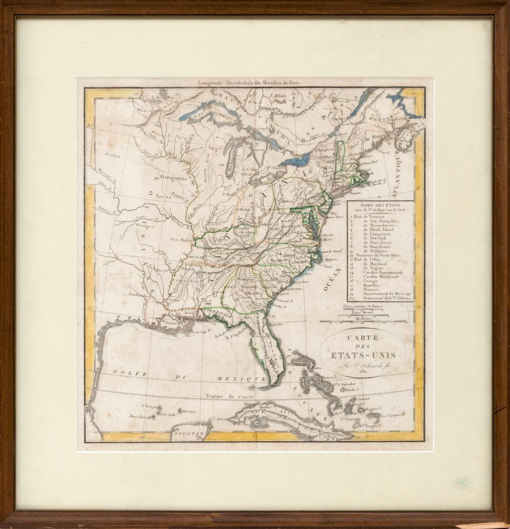 "COLORED MAP OF THE EASTERN PORTION OF THE UNITED STATES ""Carte des Etats-Unis Par Fx Delamarche fils 1811"". 12"" x 11.5"" sight. Frame..."