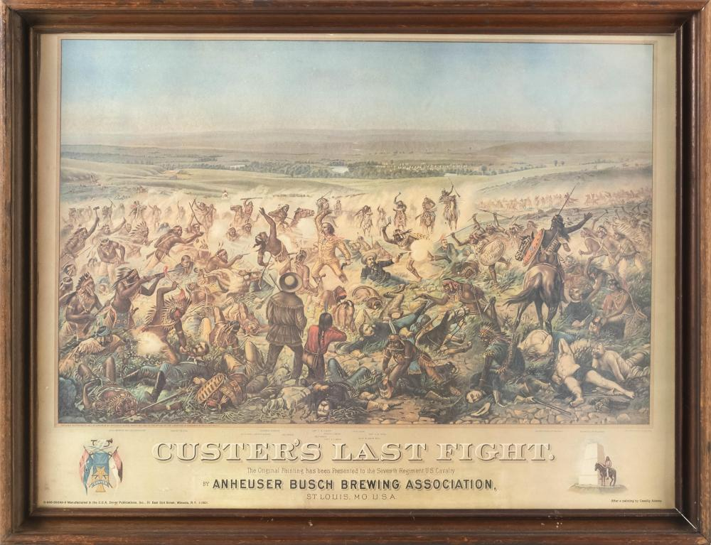 """LITHOGRAPH """"CUSTER'S LAST FIGHT"""" Printed by Dover Publications, New York, in conjunction with Anheuser Busch Brewing Association, St.."""