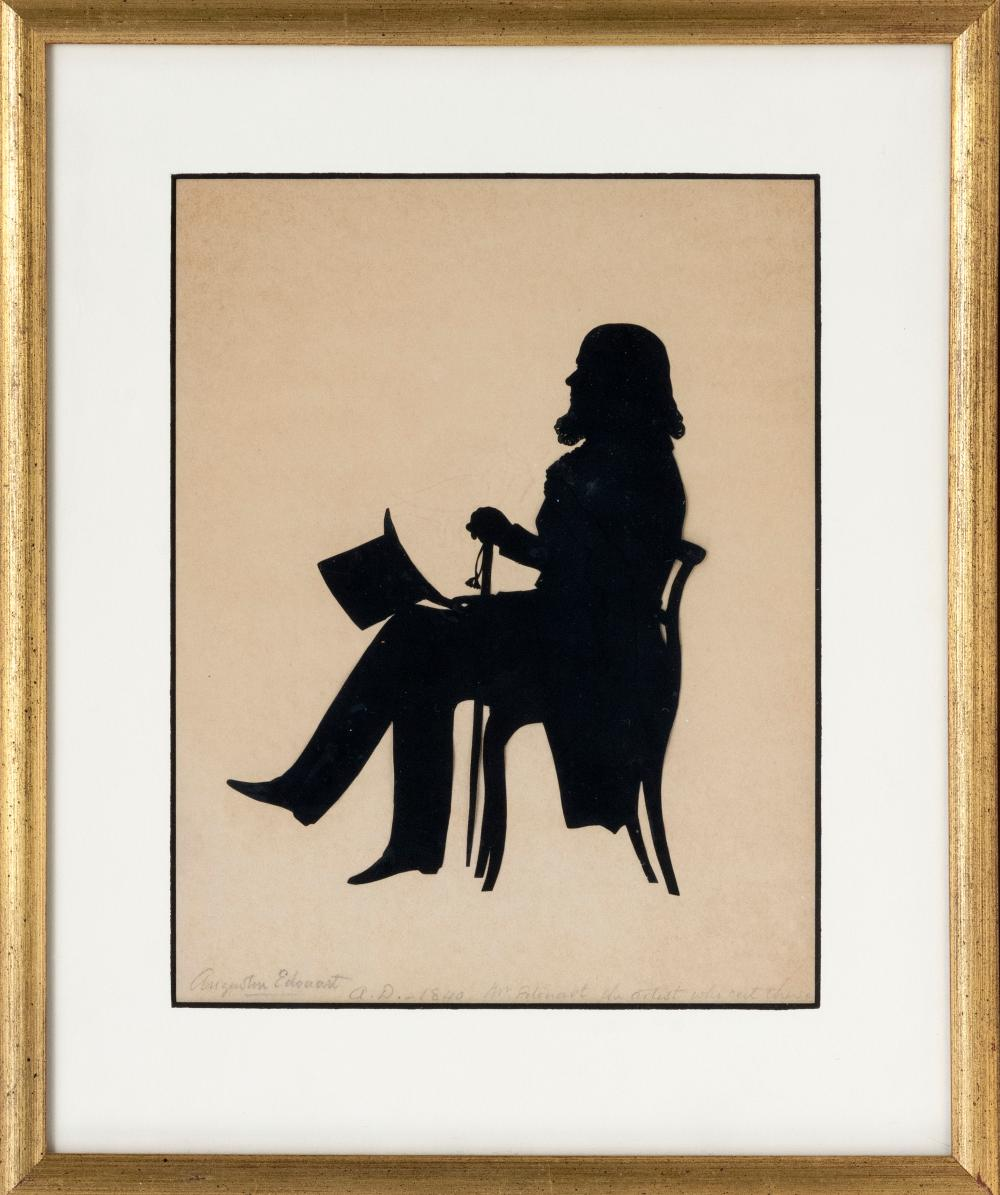 """AUGUSTE EDOUART, Louisiana/France, 1789-1861, Cut paper silhouette of a seated man holding his top hat and cane., 9"""" x 7"""" sight. Fra..."""