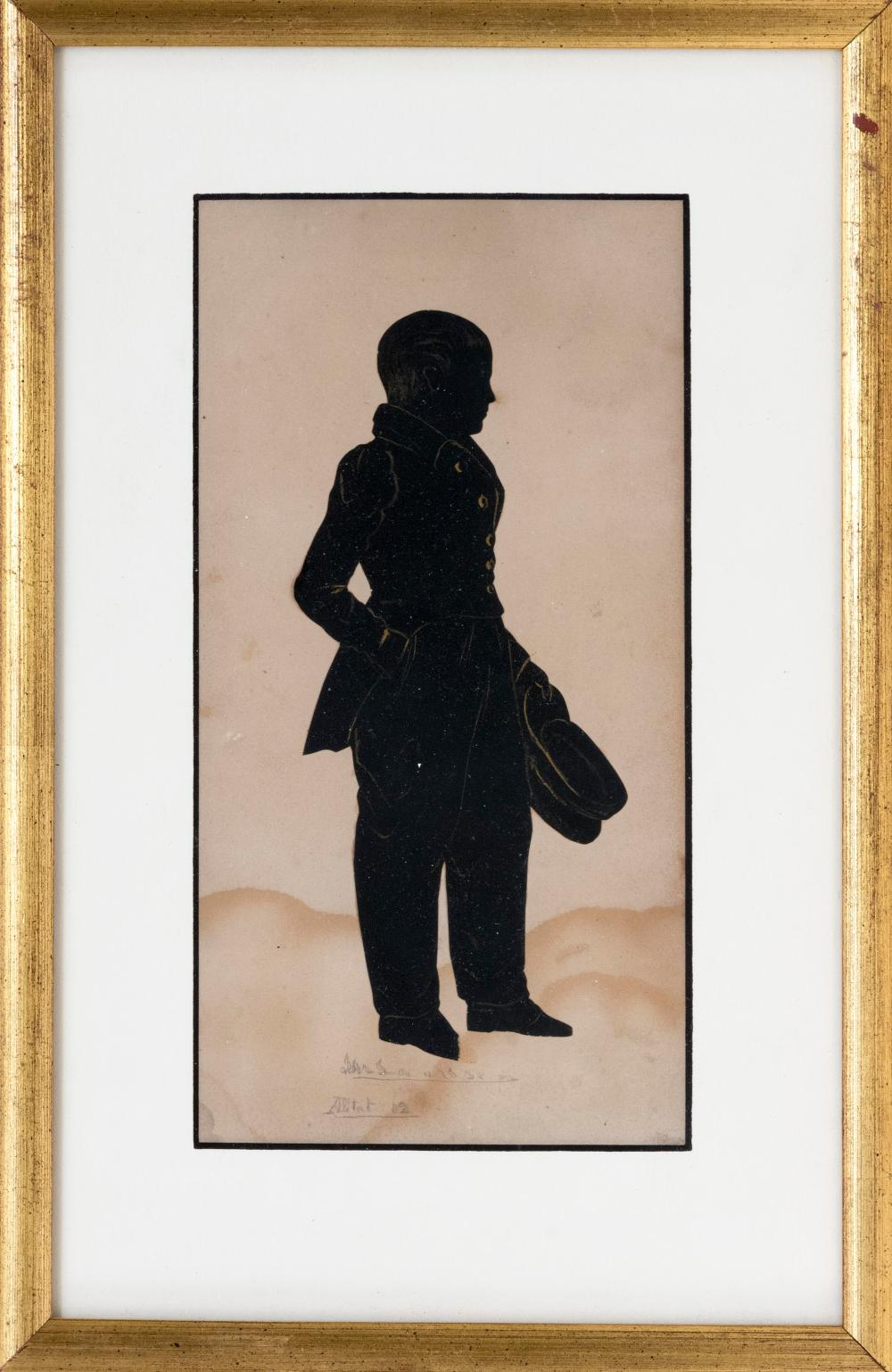 """AUGUSTE EDOUART, Louisiana/France, 1789-1861, Cut paper silhouette of a young boy holding a hat., 9"""" x 4.5"""" sight. Framed 13"""" x 8.5""""."""