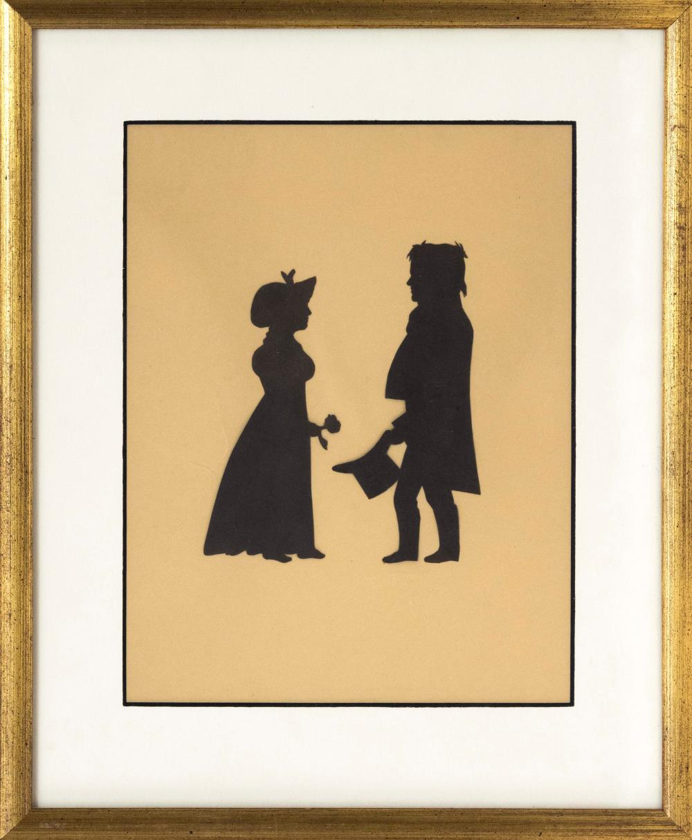 CUT PAPER SILHOUETTE OF A MAN AND WOMAN Woman holding a flower and man holding a top hat. Letter affixed verso identifies the subjec...