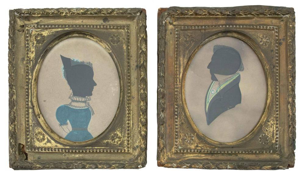 PAIR OF CUT PAPER SILHOUETTES WITH PAINTED HIGHLIGHTS A man and a woman. Man with black painted collar and yellow and turquoise trim...