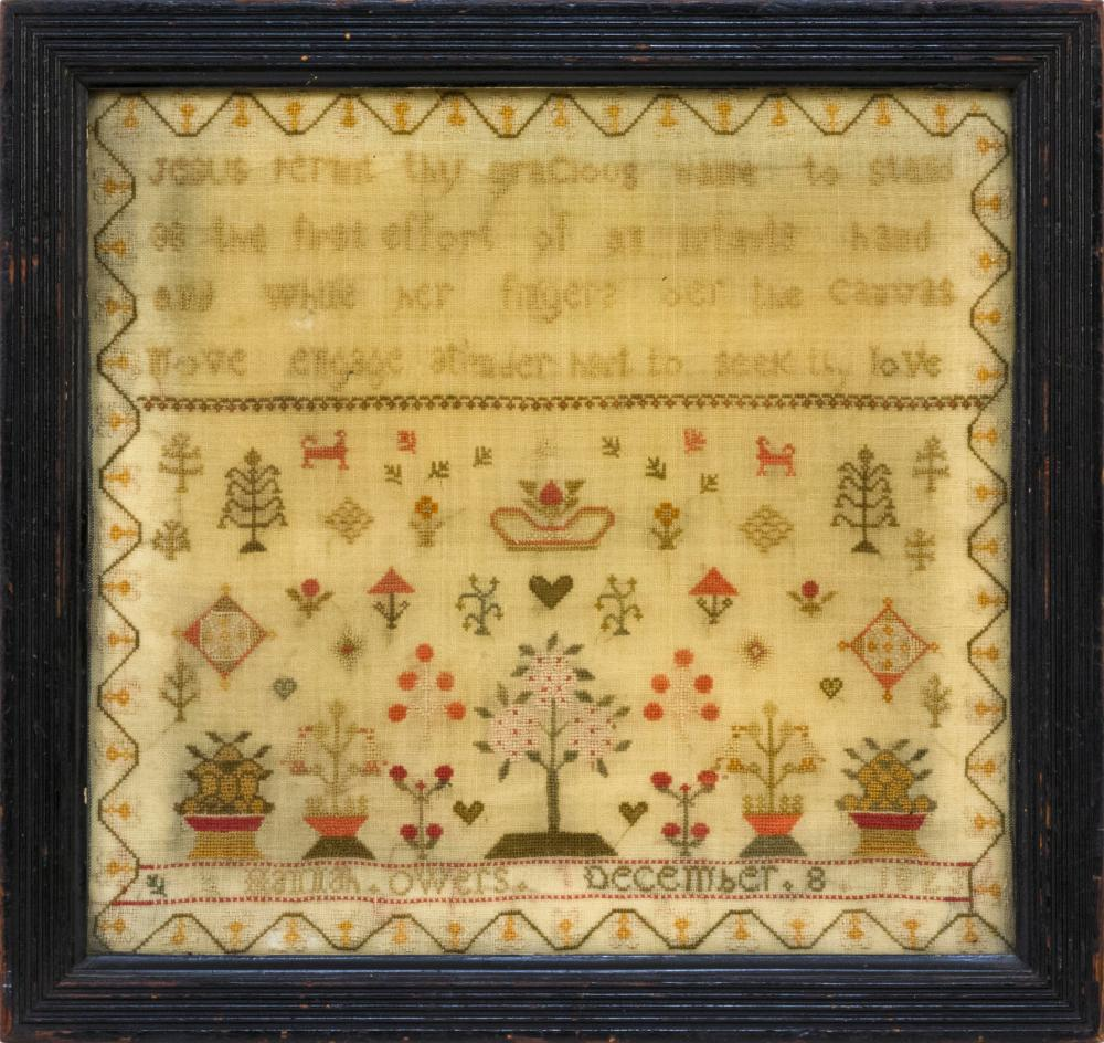 """SCHOOLGIRL NEEDLEWORK Wrought by """"Hannah Owers December 8 1823"""". Upper half with verse """"Jesus permit thy gracious name to stand ...""""..."""