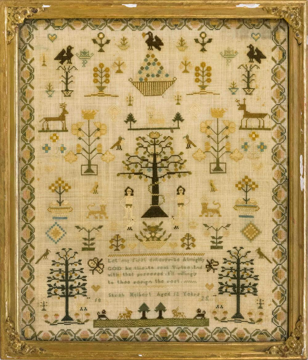 """SCHOOLGIRL NEEDLEWORK Wrought by """"Sarah Hulbert Aged 12 Years 1825"""". Tree at center has a snake wrapped around its trunk and is flan..."""