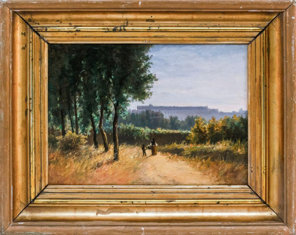 """CONTINENTAL SCHOOL, 19th Century, Figures on a country path., Oil on panel, 11"""" x 15.5"""". Framed 17.5"""" x 22""""."""