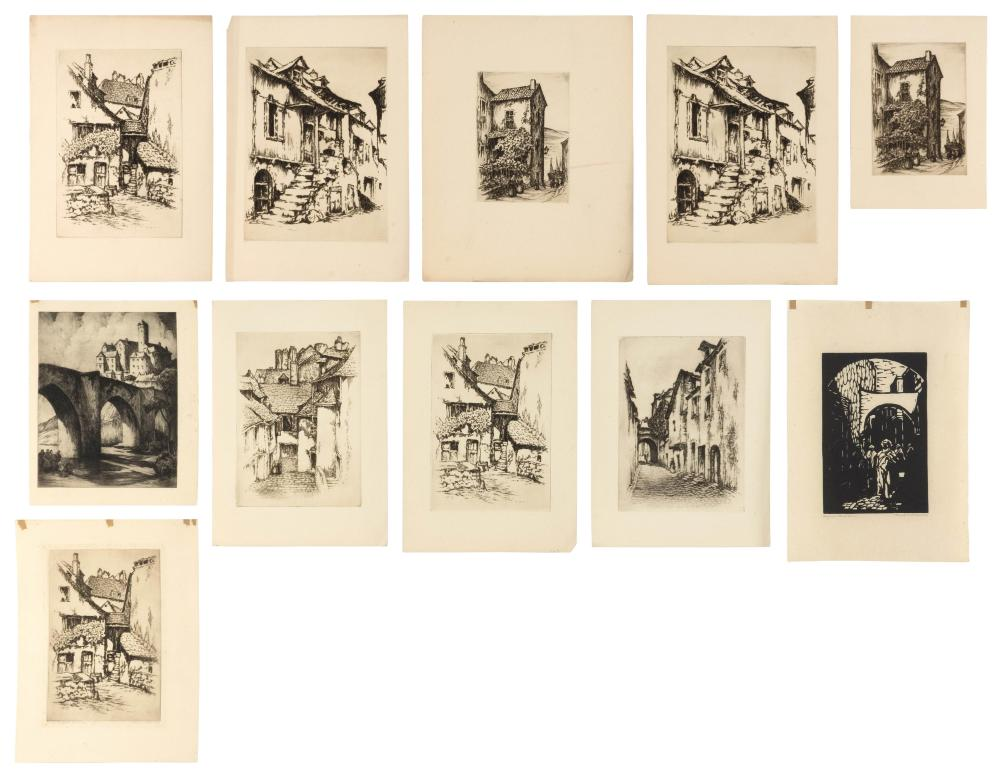 """DONALD FREDERICK WITHERSTINE, Massachusetts, 1895-1961, Ten etchings., Etchings on paper, the largest 13"""" x 12"""". Unframed."""