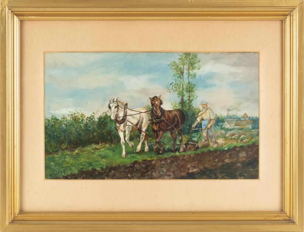 "MILDRED BUNTING MILLER, Pennsylvania/California, 1892-1964, Horse-drawn plow., Oil on cardboard, 10"" x 17"". Framed 19"" x 24.75""."