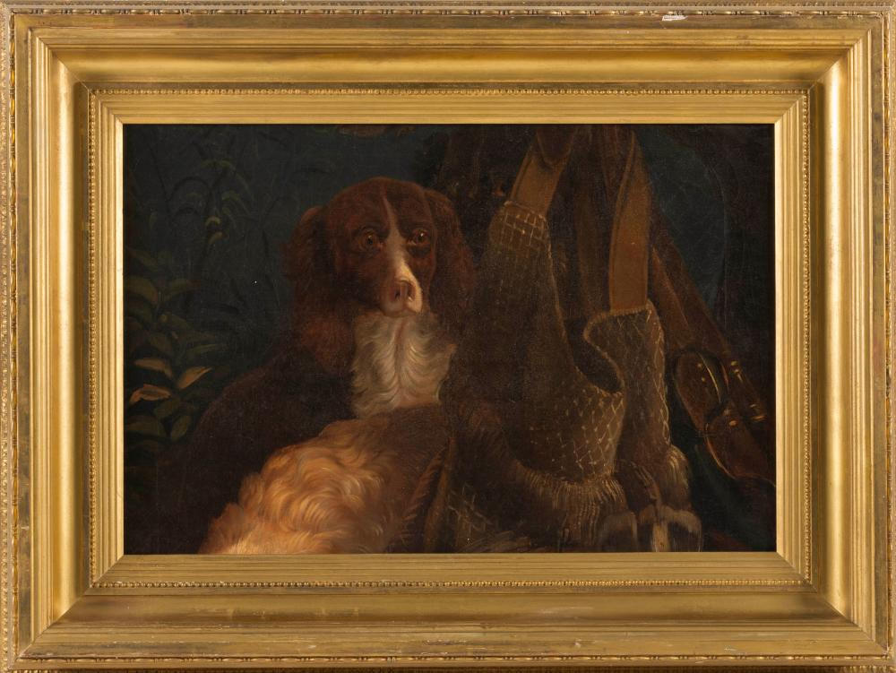 """ATTRIBUTED TO ALVAN FISHER, Massachusetts, 1792-1863, Spaniels surrounded by sporting equipment., Oil on canvas, 16"""" x 23"""". Framed."""