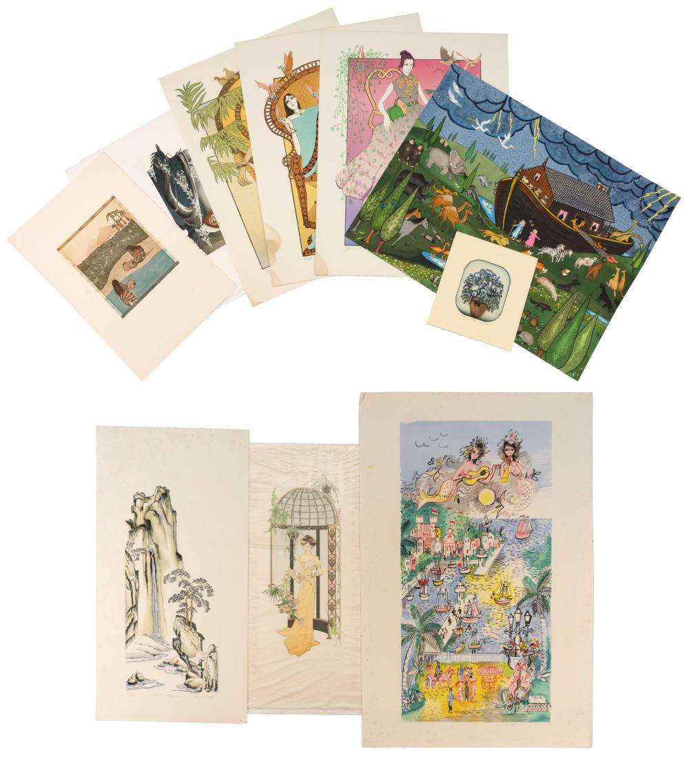TWELVE ASSORTED PRINTS All unframed. 1-3) Three colored lithographs by Joy Dunn of a seated woman in a kimono under wisteria and a f...