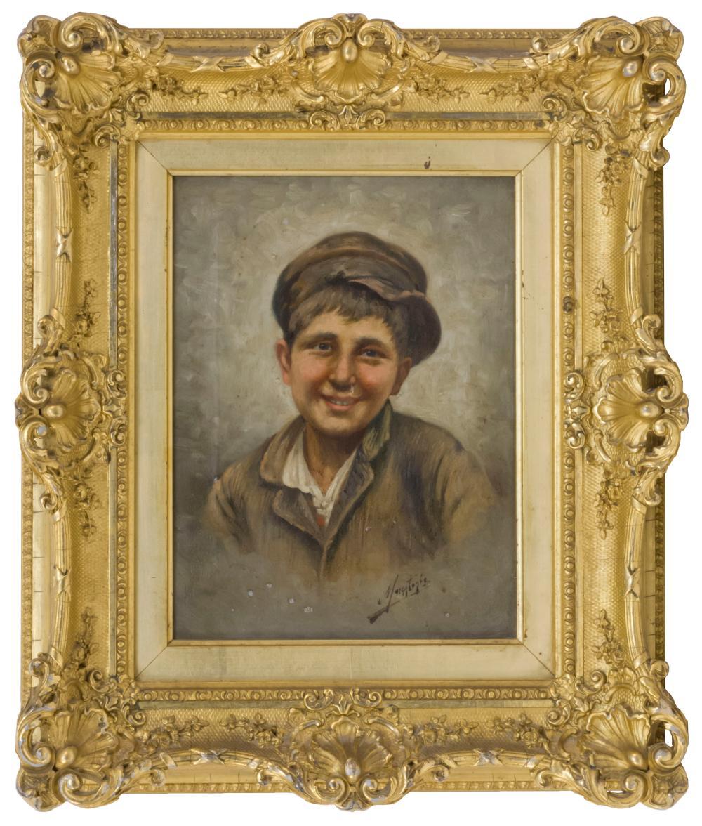 "EUROPEAN SCHOOL, 19th Century, Portrait of a young boy., Oil on canvas, 10"" x 7.5"". Framed."