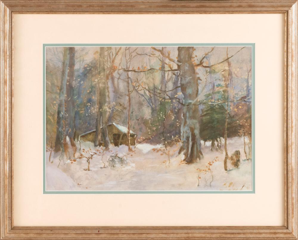 """AMERICAN SCHOOL, 20th Century, Sugar shack., Watercolor and gouache on paper, 11.5"""" x 16.25"""" sight. Framed 19"""" x 24""""."""