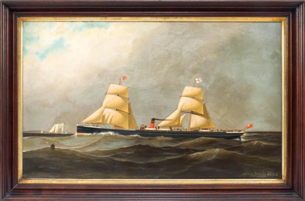 ANTONIO NICOLO GASPARO JACOBSEN, New York/New Jersey/Denmark, 1850-1921, A steam-sail vessel with a pilot boat approaching., Oil on...