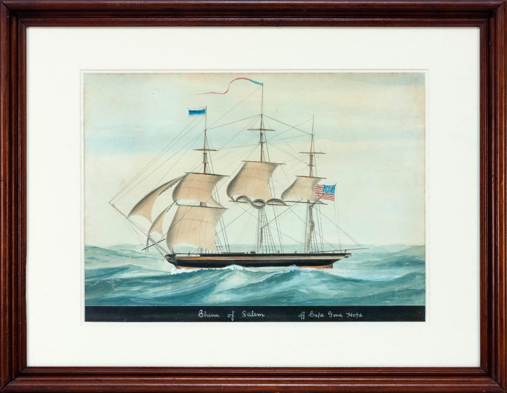 """AMERICAN SCHOOL, 19th Century, """"China of Salem off Cape Good Hope""""., Watercolor on paper, 15"""" x 20"""" sight. Framed 23.25"""" x 29.25""""."""