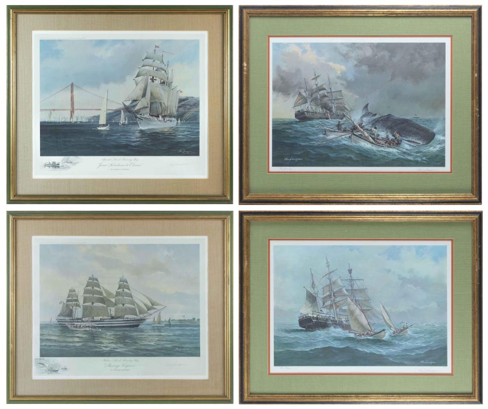 """CHARLES LUNDGREN, United States, 1911-1988, Four lithographs:, 24.5"""" x 30.5"""" sight and 17.5"""" x 24.5"""" sight. Framed 34"""" x 41""""."""