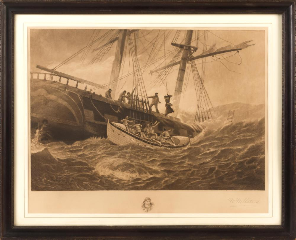 """AFTER FREDERIC SCHILLER COZZENS, New York, 1846-1928, The rescue., Etching, 17"""" x 21.5"""" sight. Framed 22.5"""" x 27""""."""