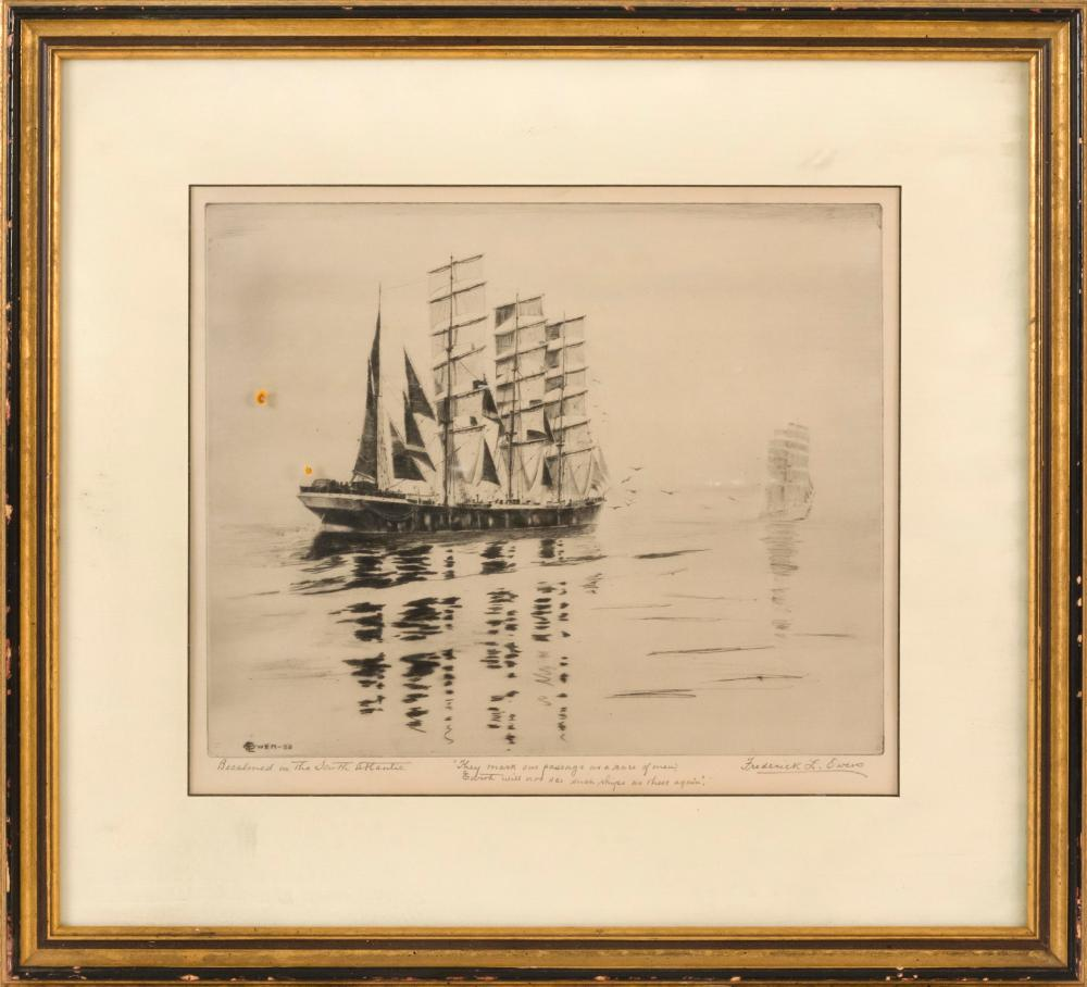 """AFTER FREDERICK L. OWEN, Canada, 1869-1959, """"Becalmed in the South Atlantic""""., Etching and drypoint, 10.5"""" x 12.5"""" sight. Framed."""