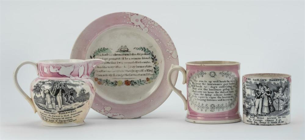"""FOUR PIECES OF SUNDERLAND A mug titled """"The Sailor's Return"""", a cup titled """"The Sailor's Farewell"""", a small pitcher and a plate. Pit."""