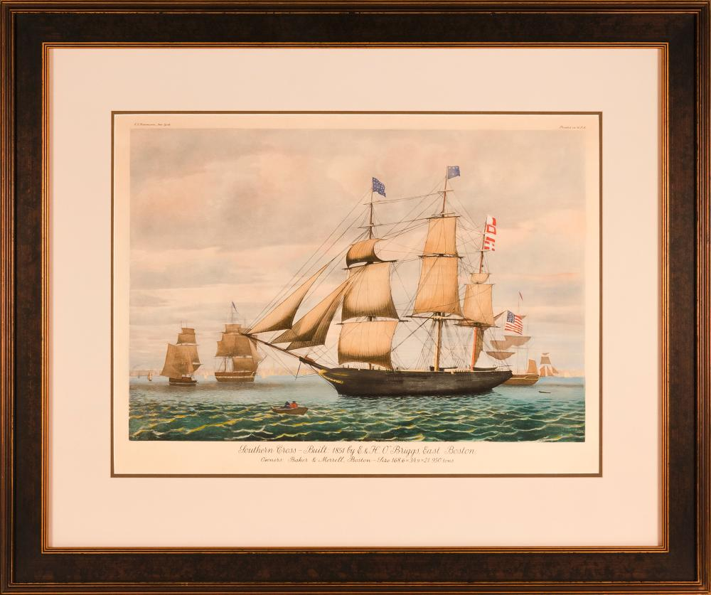 """AFTER FITZ H. LANE, Late 20th Century, Clipper ship Southern Cross in Boston Harbor., Lithograph on paper, 21.25"""" x 30"""" sight. Frame..."""