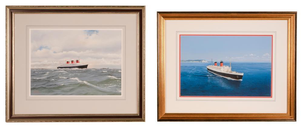 JOHN A. STEWART, England, b. 1941, Two works depicting ocean liners: