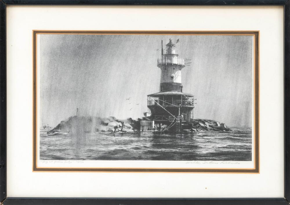 """AFTER WALTER DUBOIS RICHARDS, Connecticut/Ohio, b. 1907, Fog at Green's Ledge., Lithograph, 8.75"""" x 14.25"""" sight. Framed 13.75"""" x 19.."""