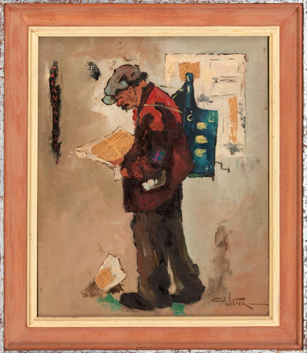 """C.H. WILTON, United States, 20th Century, Man reading a French newspaper., Mixed media and oil on canvas, 16"""" x 20"""". Framed 25"""" x 20""""."""