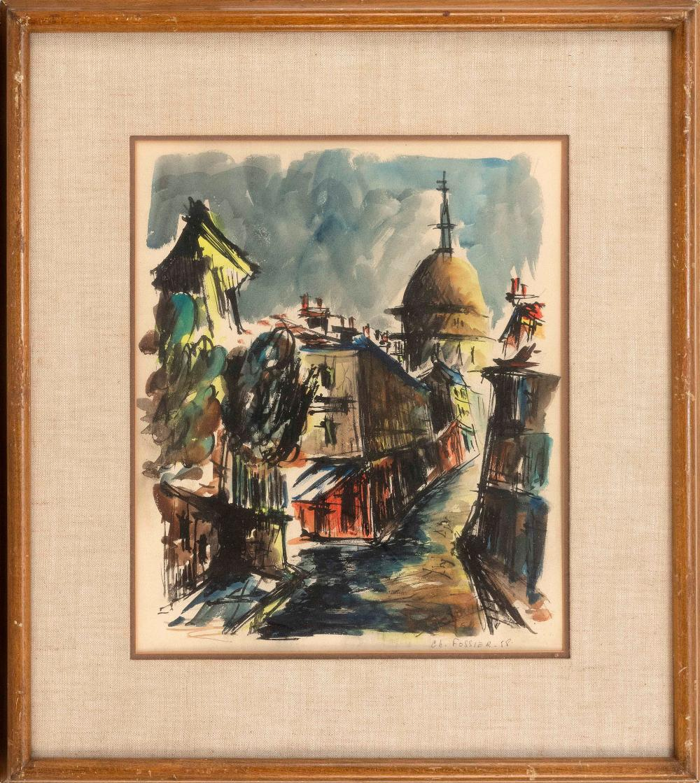 "CHRISTIAN FOSSIER, France, 1943-2013, European street scene., Watercolor on paper, 18"" x 15"". Framed 25"" x 22""."