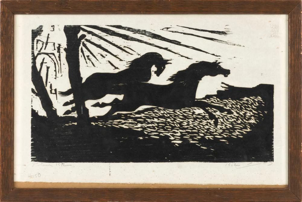 """BLACK AND WHITE WOODCUT ON PAPER OF TWO RUNNING HORSES Signed and titled illegibly. 14"""" x 20"""" sight. Framed 15"""" x 22""""."""