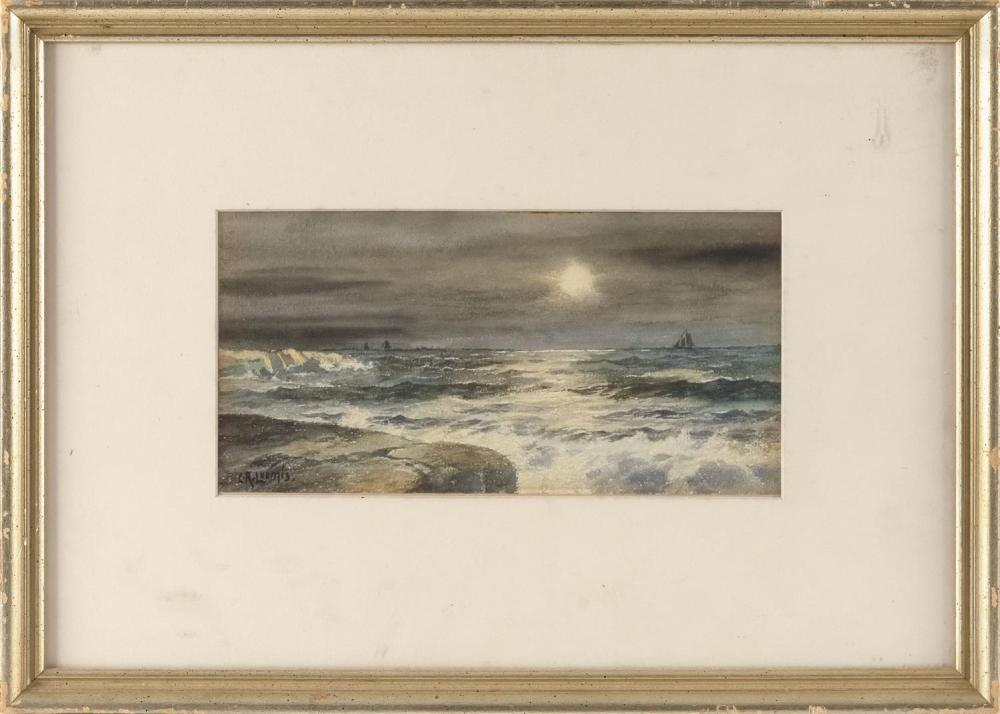 """CHESTER LOOMIS, New Jersey/New York/France, 1852-1924, Moonlit seascape., Watercolor on paper, 5"""" x 10"""" sight. Framed 12.5"""" x 18""""."""