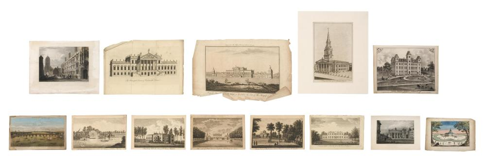 """COLLECTION OF ARCHITECTURAL PRINTS 1) Benjamin Cole engraving of St. Martin's Church in London. Matted 18"""" x 14.5"""". 2) """"Mr. Pope's H..."""