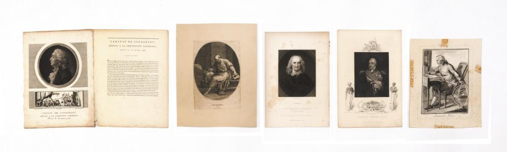 FIVE SMALL PRINTED PORTRAITS 1) Engraving of Viscount Exmouth in military garb. From a painting by W. Owen, R.A. Engraved by J. Roge...