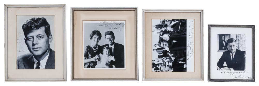"""FOUR BLACK AND WHITE PHOTOGRAPHS OF JOHN F. KENNEDY All personalized and signed Kennedy. Largest 9.5"""" x 6.75"""". All framed."""