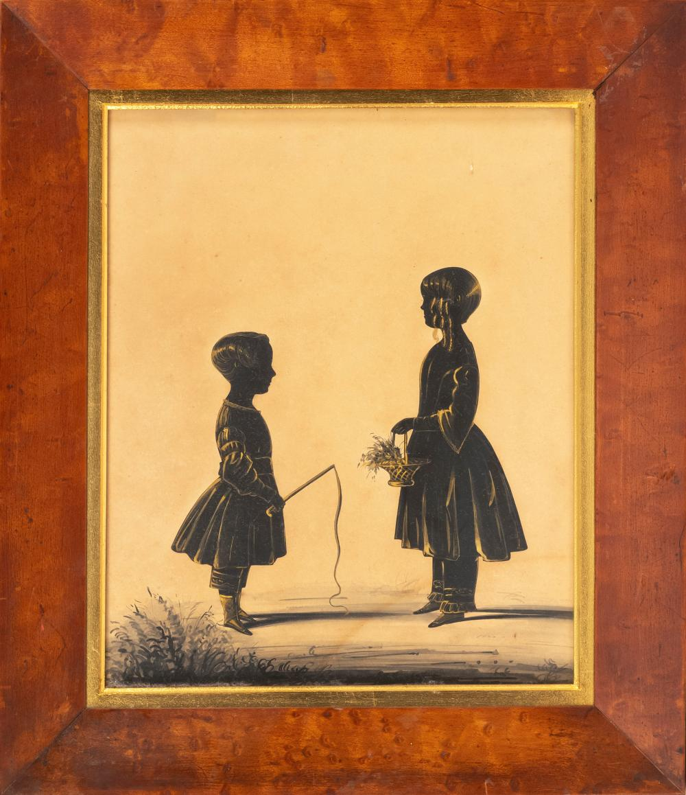 SILHOUETTE OF TWO CHILDREN Depicts a boy with a crop and a young girl holding a basket. Unsigned. Housed in a bird's-eye maple frame..