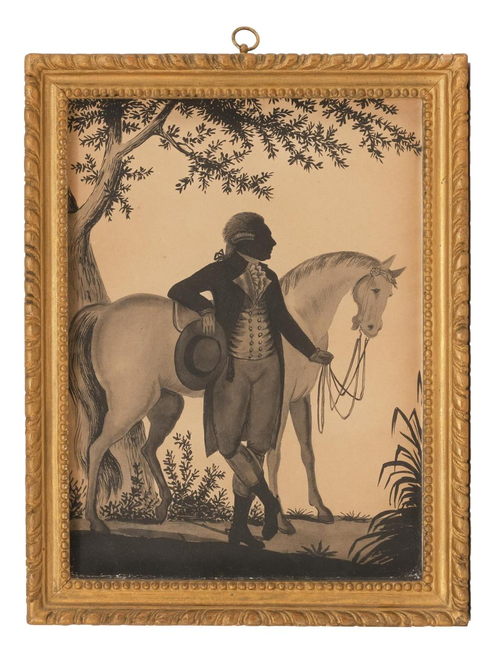 """FINE WATERCOLOR DEPICTING A GENTLEMAN STANDING WITH A HORSE Unsigned. 11.5"""" x 8.5"""" sight. Framed 13.5"""" x 10.5""""."""