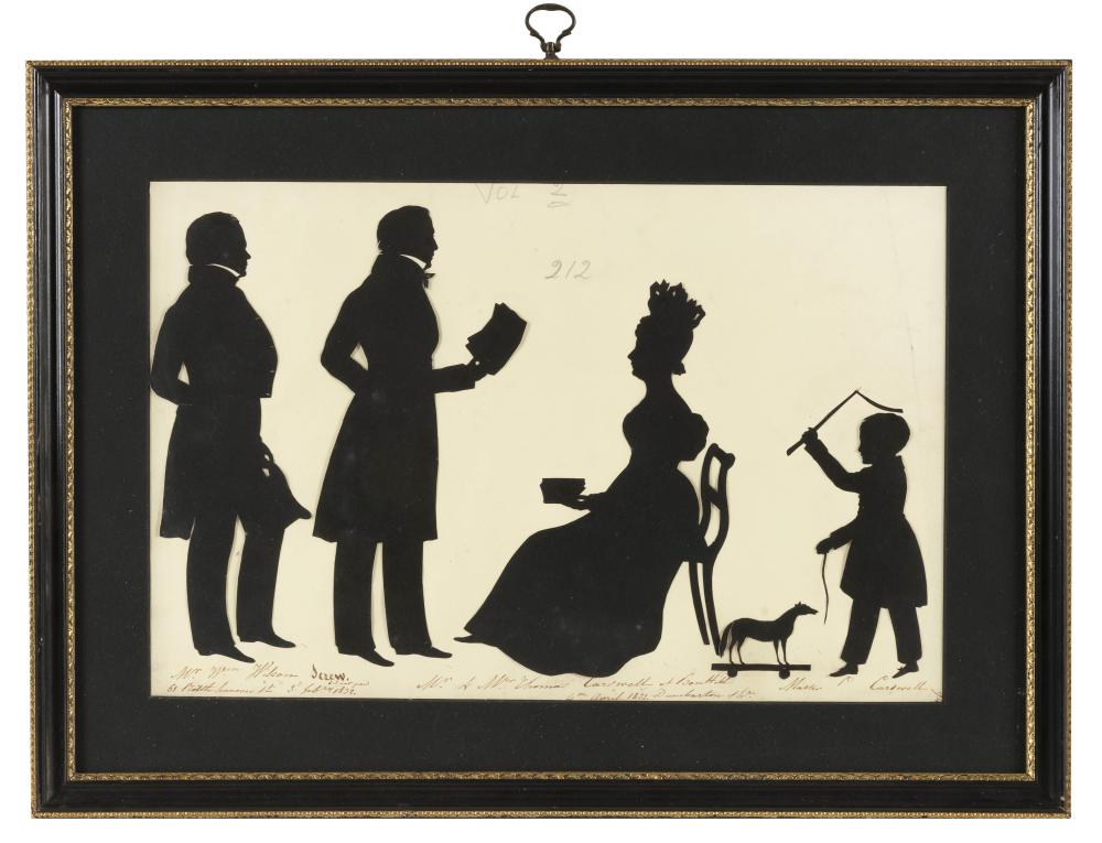 CUT PAPER SILHOUETTE OF THE CARSWELL FAMILY OF BONHILL, DUNBARTONSHIRE Inscribed in pencil with family names. Possibly depicts the i...