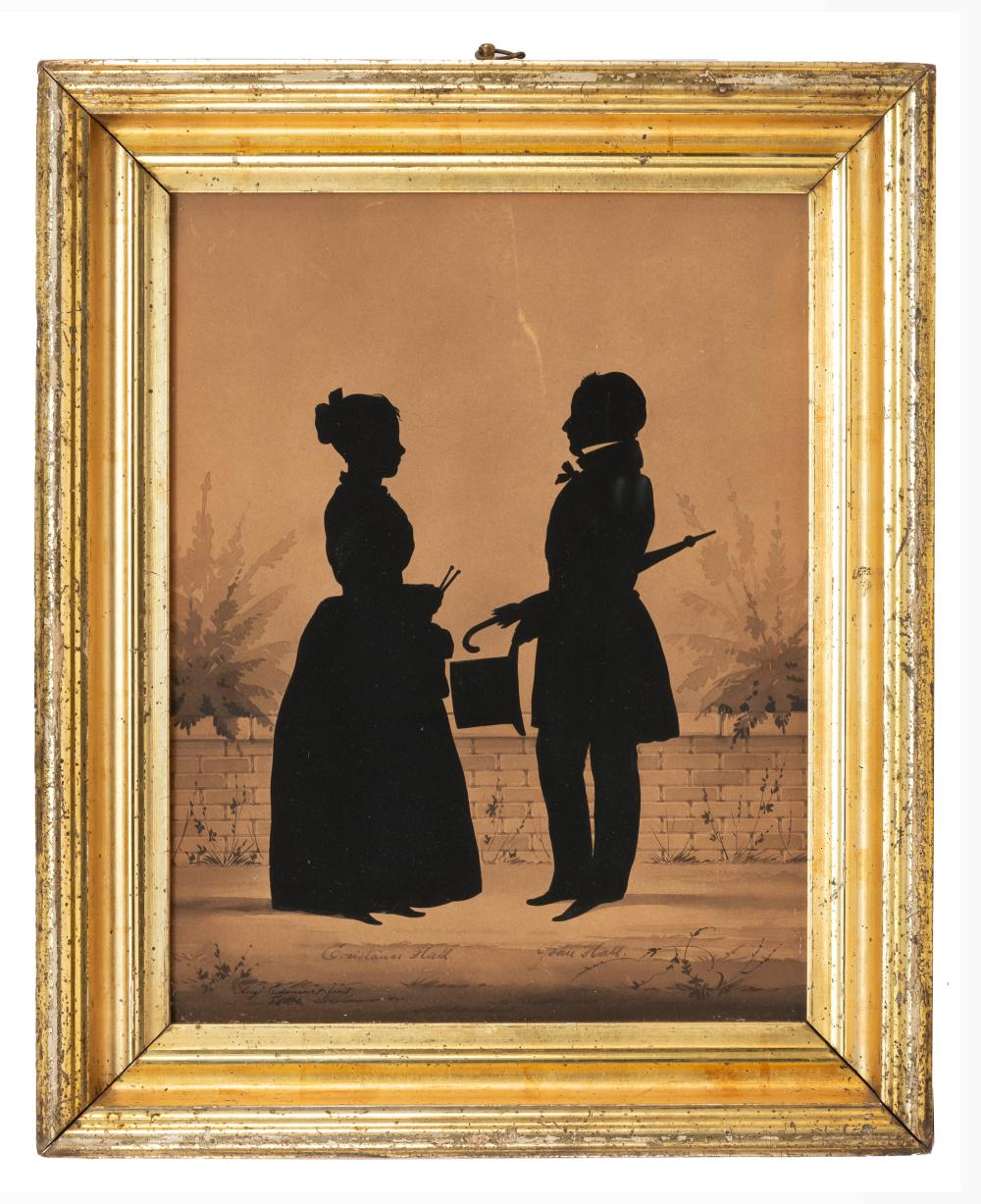 AUGUSTE EDOUART, Louisiana/France, 1789-1861, Cut paper silhouette portrait of Constance and John Hall with watercolor background.,...