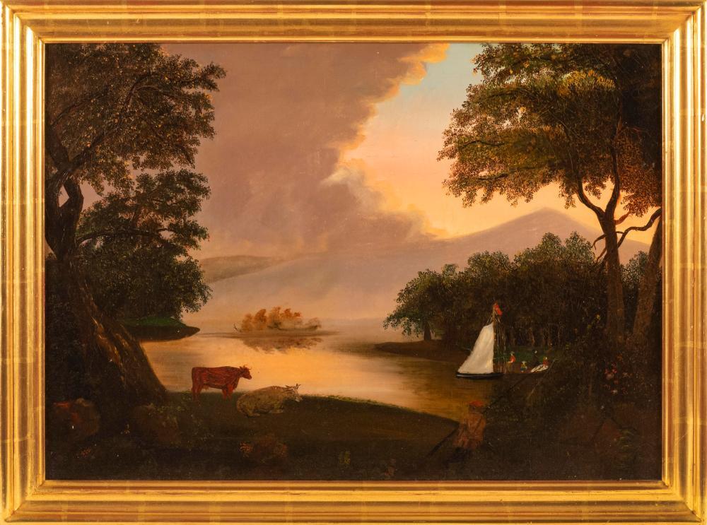 "AMERICAN SCHOOL, 19th Century, Primitive Hudson River School landscape, Oil on canvas, 18"" x 25"". Framed 21"" x 28""."