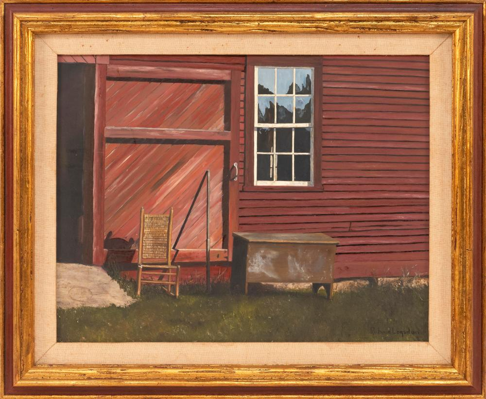 """RICHARD LOGSDON, United States, 20th Century, A chair and a blanket chest by a barn door., Oil on masonite, 14"""" x 18"""". Framed 19"""" x..."""