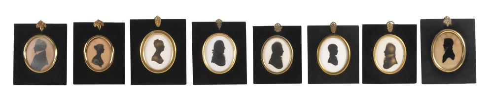 """COLLECTION OF EIGHT BUST PORTRAIT SILHOUETTES Six of men and two of women, all depicted in profile. Most 3"""" x 2.5"""" sight. Framed 5.5..."""