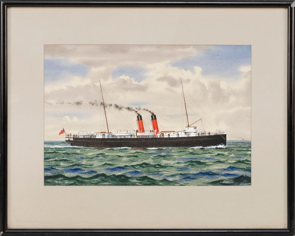 "J. NICHOLSON, 20th Century, Portrait of the ship S.S. Boston., Watercolor and gouache, 11"" x 16"". Framed 18.5"" x 23.5""."