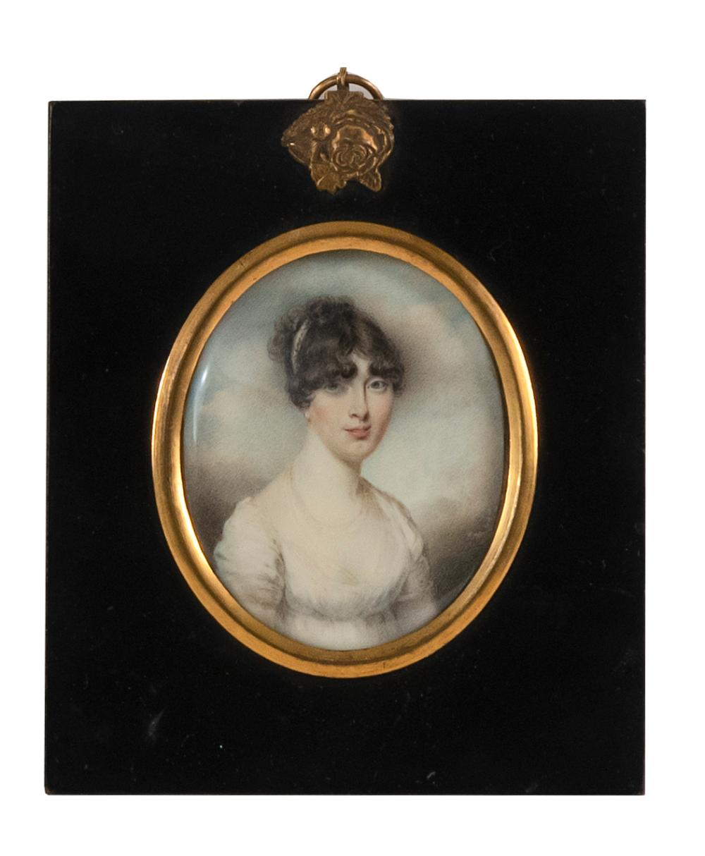 """MINIATURE PORTRAIT OF A YOUNG WOMAN Unsigned. 2.75"""" x 2.5"""" sight. Framed 5"""" x 4""""."""