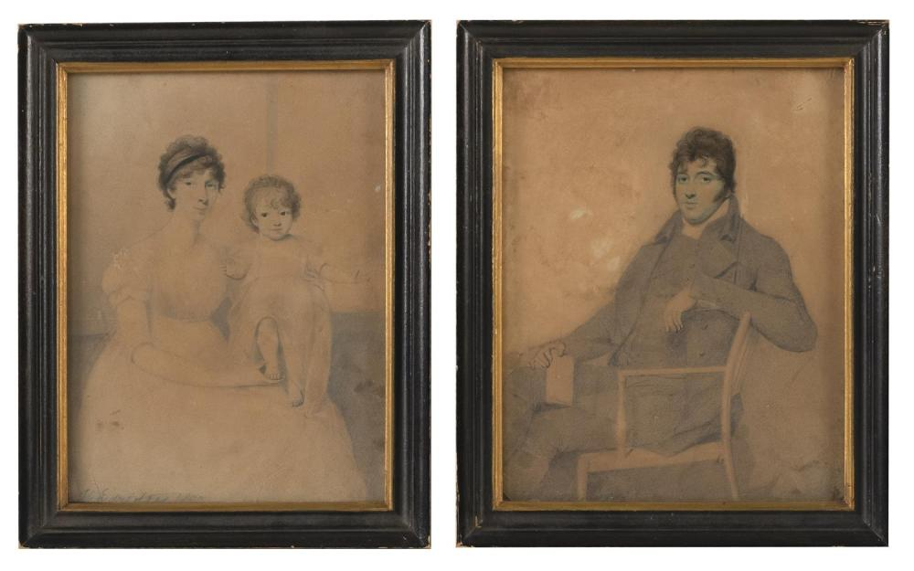 """PAIR OF EARLY WATERCOLOR PORTRAITS One of a mother and child and one of a seated man. Signed and dated lower left """"H. Edrdige[?] 180..."""