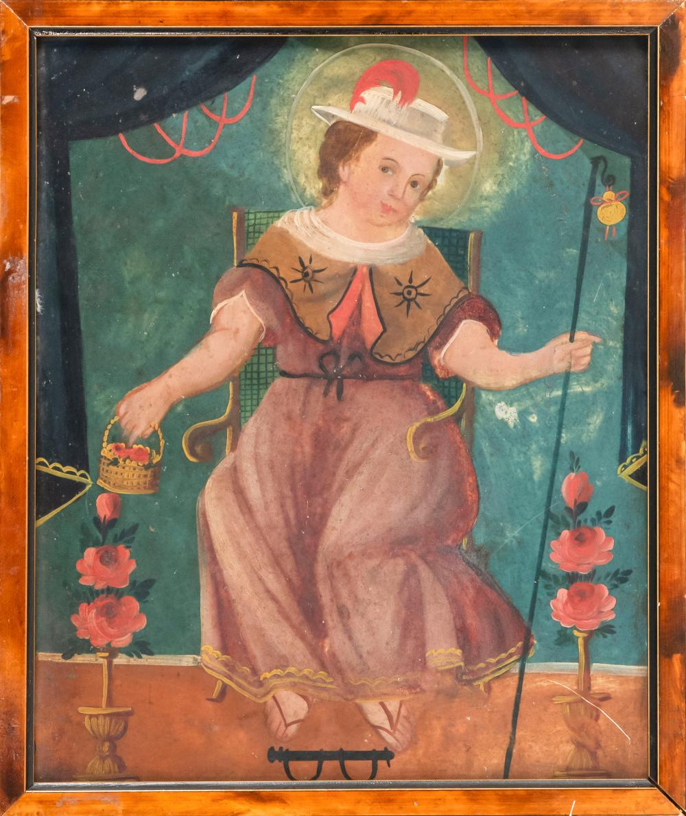 PRIMITIVE SCHOOL, 20th Century, A woman wearing a hat with red feather seated on a chair and holding a basket of flowers., Oil on ti...