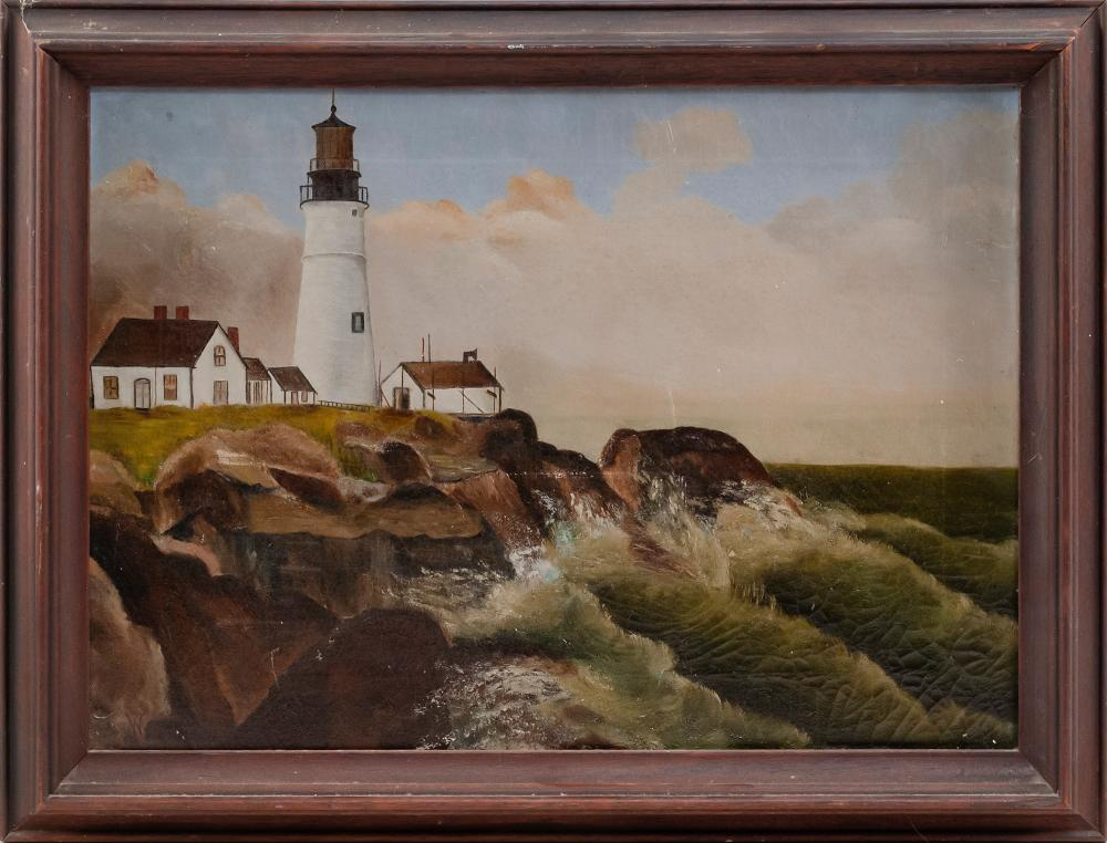 "AMERICAN SCHOOL, 19th Century, A lighthouse on a rocky ledge., Oil on canvas, 14"" x 20"". Framed 17"" x 23""."
