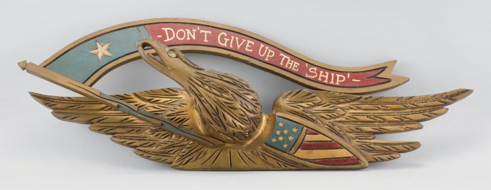 """BELLAMY-STYLE AMERICAN EAGLE PLAQUE Spread-wing eagle with a red, white and blue American shield and a """"Don't Give Up the 'Ship' - """""""