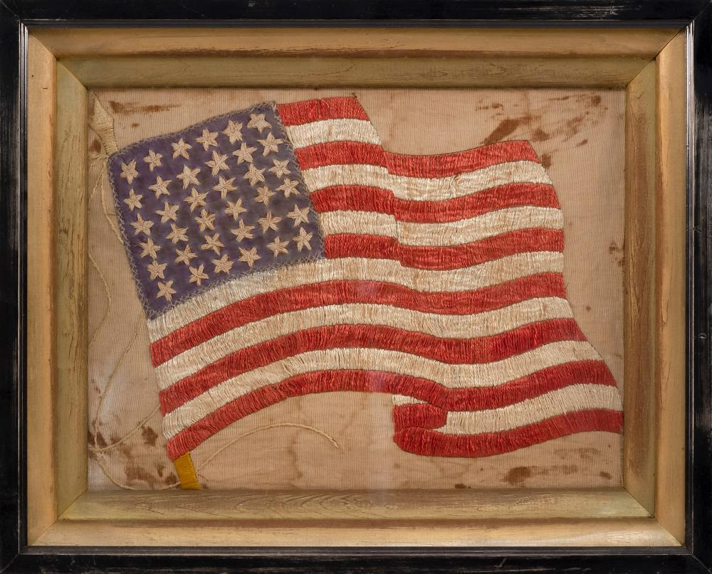 """TEXTILE WITH 36-STAR AMERICAN FLAG MOTIF 11"""" x 14"""" sight. Framed 16"""" x 20""""."""