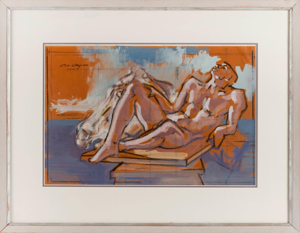 """WILLIAM LITTLEFIELD, Massachusetts/New York, 1902-1969, Study for """"Sculpture""""., Crayon, pencil and gouache on paper, 14.75"""" x 22.25""""..."""
