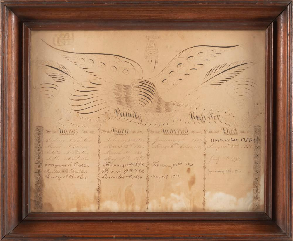 CALLIGRAPHIC FAMILY REGISTER Records members of the Butler family, dating from 1843 to 1925. Upper half with a beautifully executed...