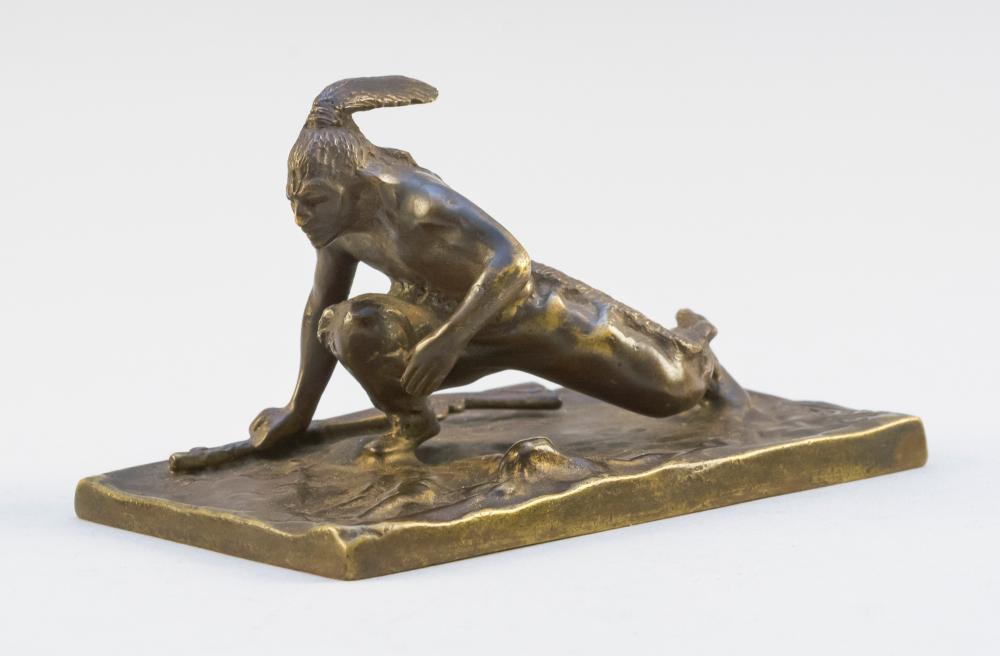 "AFTER CARL KAUBA, 20th Century, Crouching American Native., Bronze, height 2.5"". Length 4""."