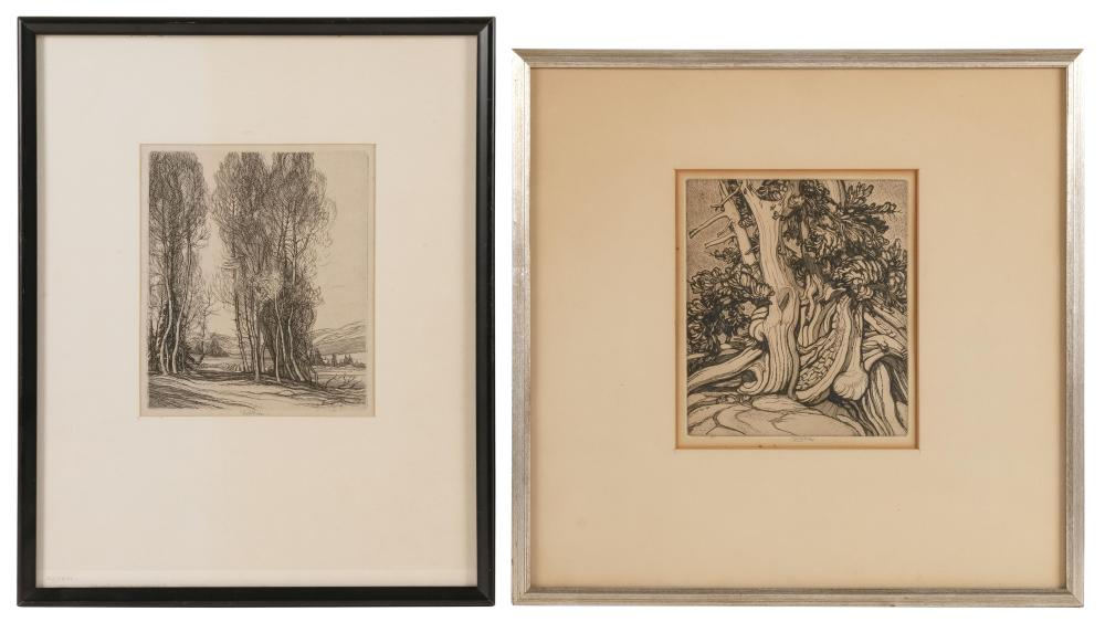 """ROI PARTRIDGE, California/Washington, 1888-1984, Two etchings on paper: """"Juniper"""" and a grove of trees., 7.25"""" x 6.25"""" sight and 7.2..."""